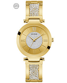GUESS Women's Gold-Tone Stainless Steel & Swarovski Crystal Bangle Bracelet Watch 36mm