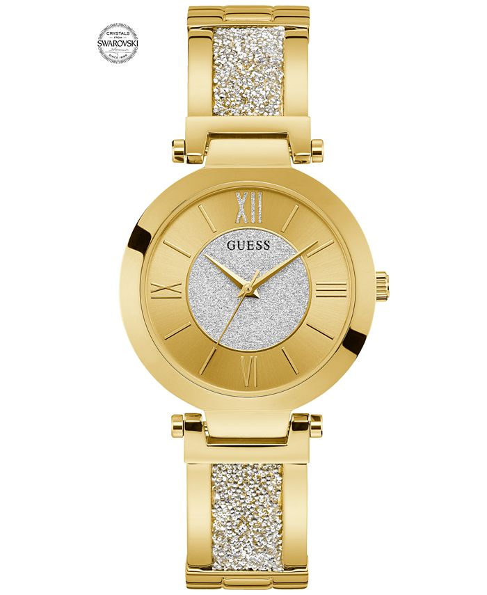 GUESS - Women's Gold-Tone Stainless Steel & Swarovski Crystal Bangle Bracelet Watch 36mm