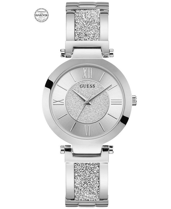 GUESS - Women's Stainless Steel & Swarovski Crystal Bangle Bracelet Watch 36mm