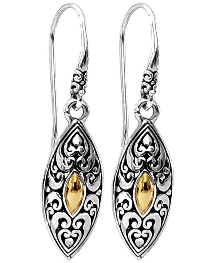 DEVATA - Bali Heritage Classic Drop Earrings in Sterling Silver and 18k Yellow Gold Accents
