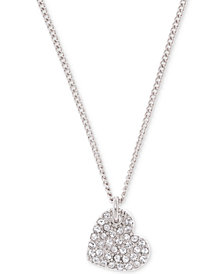"""DKNY Silver-Tone Crystal Heart Pendant Necklace, 16"""" + 3"""" extender, Created for Macy's"""
