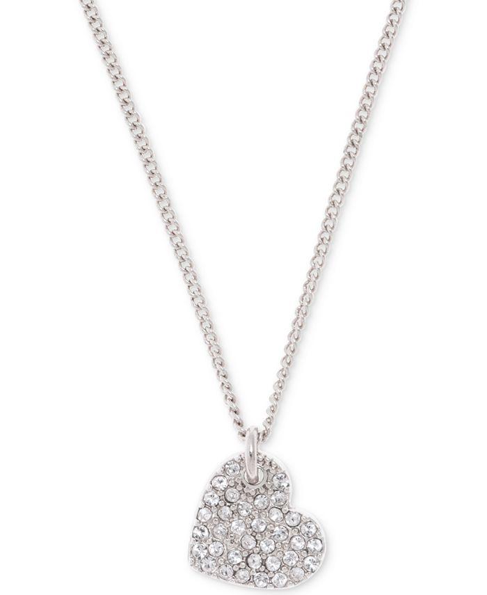 "DKNY - Silver-Tone Crystal Heart Pendant Necklace, 16"" + 3"" extender"