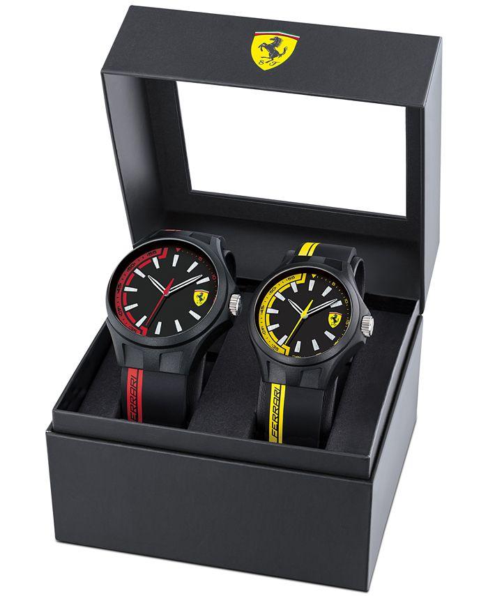 Ferrari - Men's Basics Black Silicone Strap Watch 38mm & 44mm Gift Set