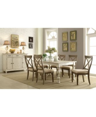 Aberdeen Driftwood Expandable Dining Furniture, 7-Pc. Set (Table & 6 Upholstered Side Chairs)