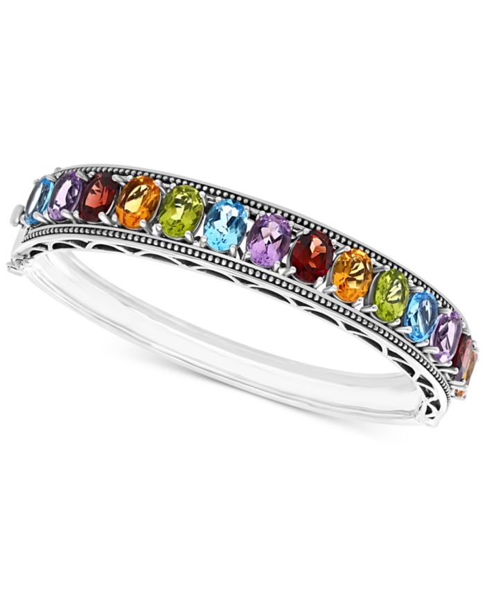EFFY Collection EFFY® Multi-Gemstone Bangle Bracelet (19-1/2 ct. t.w.) in Sterling Silver & Reviews - Bracelets - Jewelry & Watches - Macy's