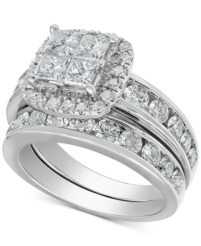 Macy's - Diamond Princess Halo Bridal Set (3 ct. t.w.) in 14k White Gold