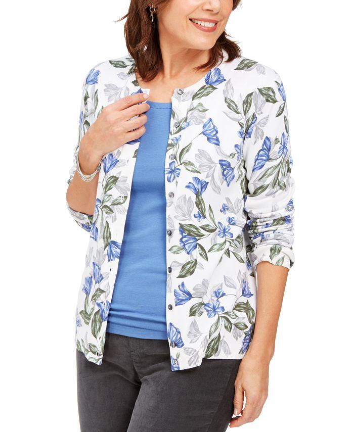 Karen Scott - Floral-Print Cardigan, Created For Macy's