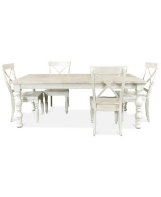 Aberdeen Worn White Expandable Dining Furniture, 5-Pc. Set (Table & 4 Side Chairs)