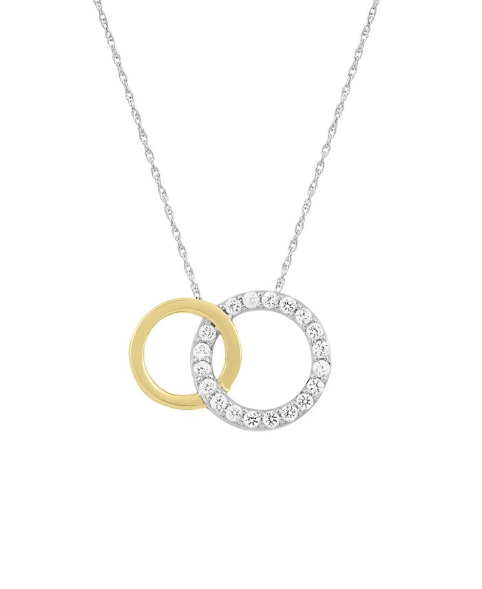 Macy's - WEAR IT BOTH WAYS Diamond (1/5 ct. t.w.) Interlocking Circles Pendant Necklace in 14k two-tone White and Yellow Gold