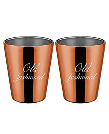 """Thirstystone by Cambridge Copper """"Old Fashioned"""" Double Old Fashion Cups - Set of 2"""