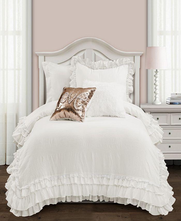 Lush Décor - Ella Ruffle Lace 2-Piece Twin XL Comforter Set