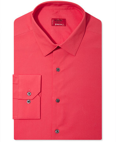 Alfani spectrum slim fit solid dress shirt dress shirts for Alfani mens shirt size chart