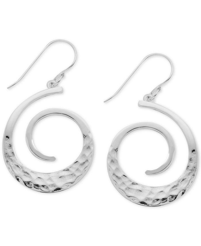 Essentials - Textured Swirl Drop Earrings in Fine Silver-Plate