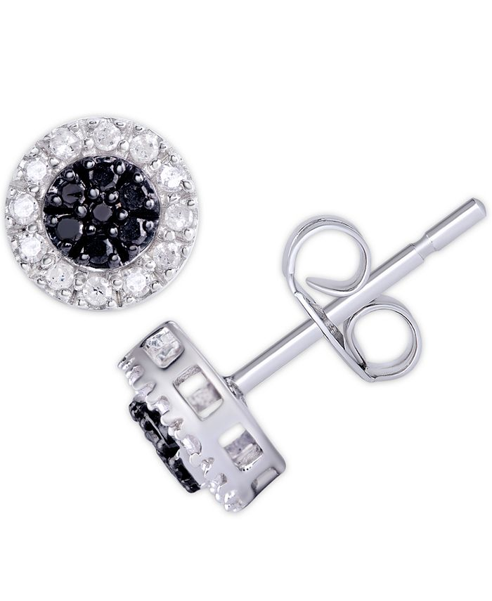 Macy's - Black and White Diamond (1/3 ct. t.w.) Round Stud Earrings in Sterling Silver