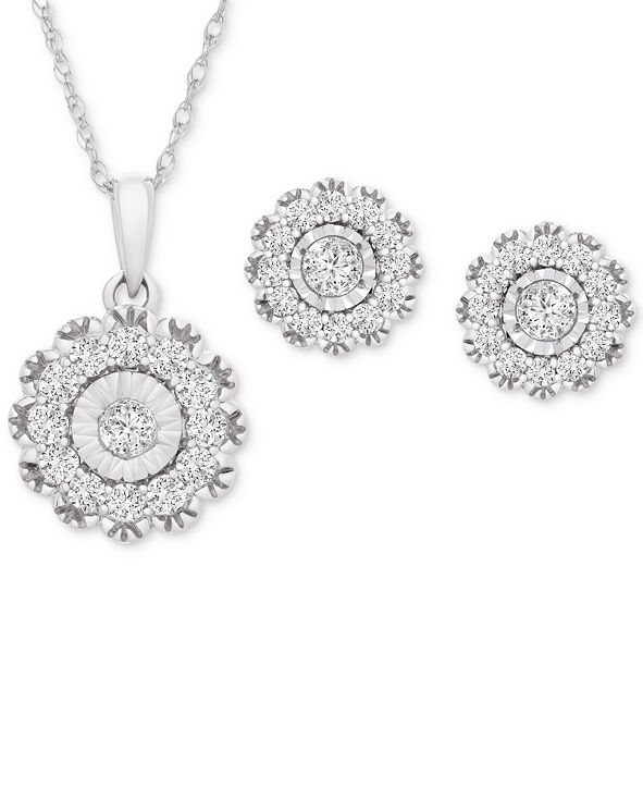 Wrapped in Love 2-Pc. Set Diamond Pendant Necklace & Matching Stud Earrings (1 ct. t.w.) in 14k White Gold, Created for Macy's