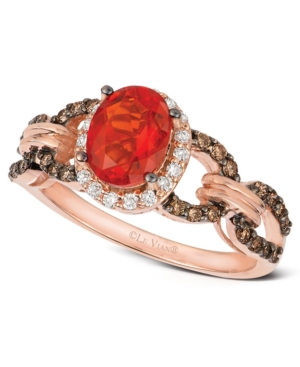 Le Vian 14k Rose Gold Ring, Fire Opal (5/8 ct. t.w.), Diamond and Chocolate Diamond (3/8 ct. t.w.) Link Ring