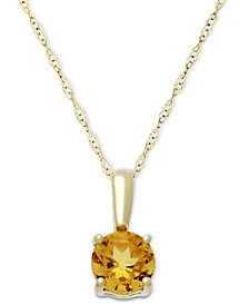 Birthstone Pendant in 14k Gold or White Gold