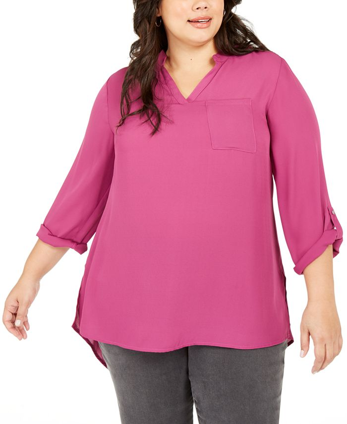 NY Collection - Plus Size Split-Neck Roll-Tab-Sleeve Top