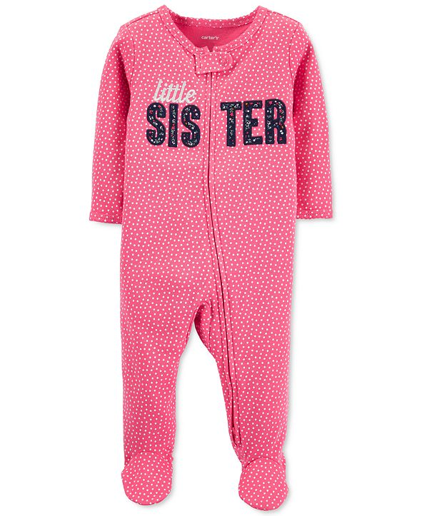 Carter's Baby Girls Cotton Little Sister Footed Coverall