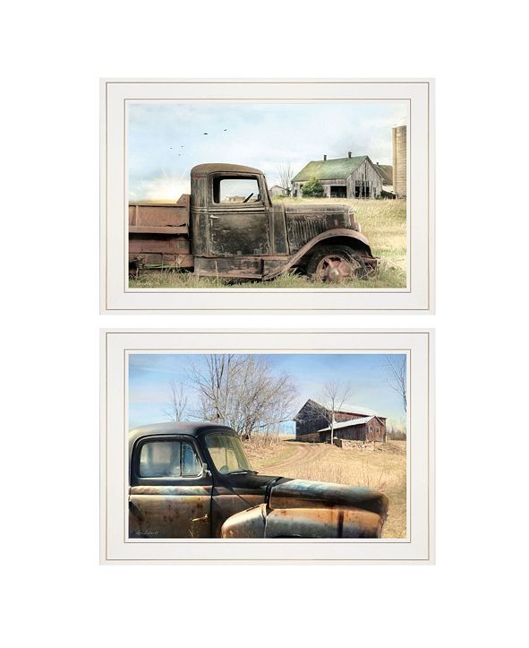 "Trendy Decor 4U Vintage-Like Farm Trucks 2-Piece Vignette by Lori Deiter, White Frame, 21"" x 15"""