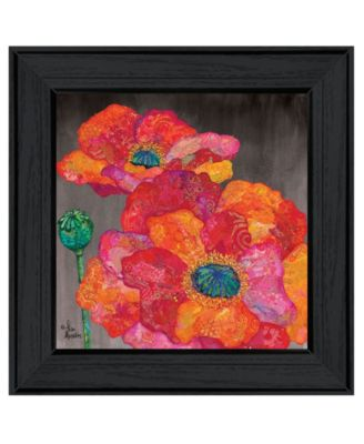 Blooms on Black II by Lisa Morales, Ready to hang Framed Print, Black Frame, 15