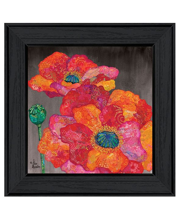 "Trendy Decor 4U Blooms on Black II by Lisa Morales, Ready to hang Framed Print, Black Frame, 15"" x 15"""