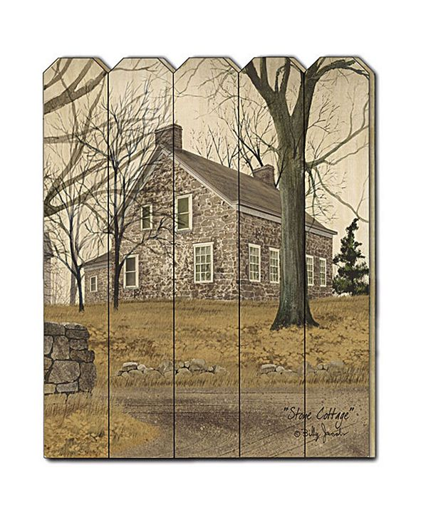 "Trendy Decor 4U Stone Cottage by Billy Jacobs, Printed Wall Art on a Wood Picket Fence, 16"" x 20"""