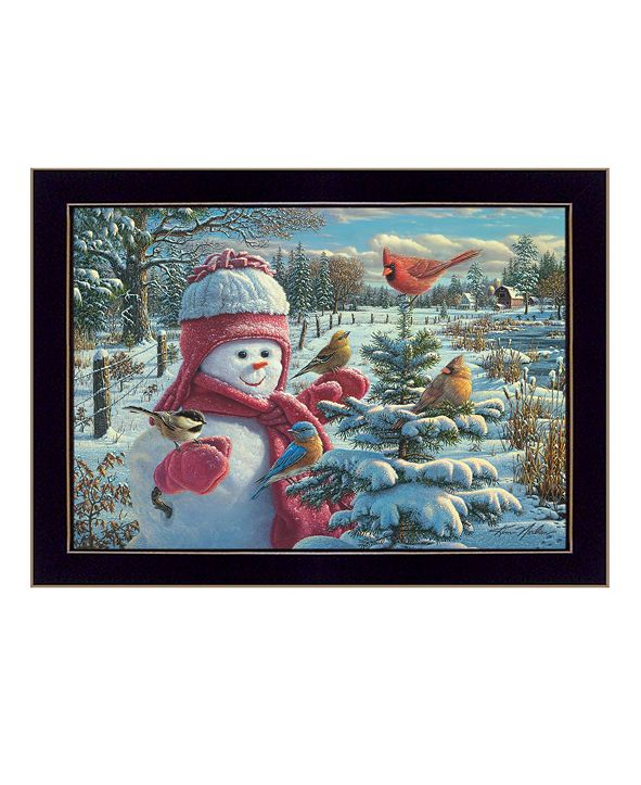"Trendy Decor 4U Snow Baby Grace By Kim Norlien, Printed Wall Art, Ready to hang, Black Frame, 14"" x 10"""