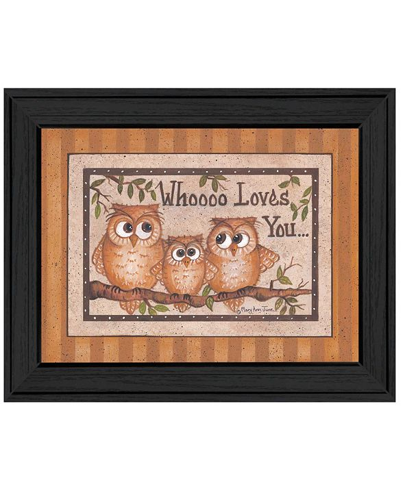 """Trendy Decor 4U Whoooo Loves You By Mary June, Printed Wall Art, Ready to hang, Black Frame, 18"""" x 14"""""""