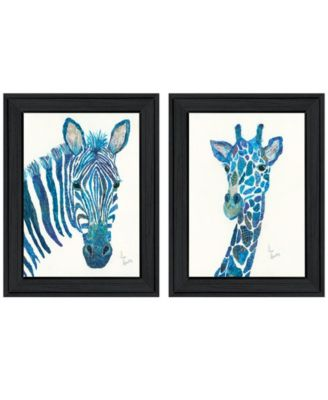 Blue Zebra Giraffe 2-Piece Vignette by Lisa Morales, Black Frame, 15