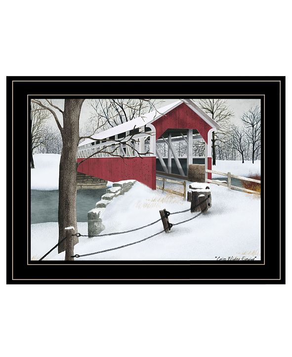 "Trendy Decor 4U Crisp Winter Evening by Billy Jacobs, Ready to hang Framed Print, Black Frame, 19"" x 15"""