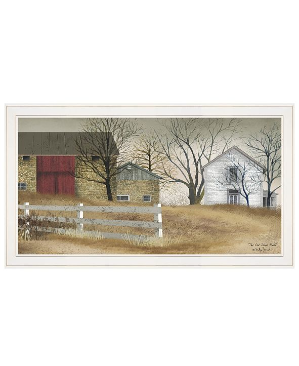 """Trendy Decor 4U The Old Stone Barn by Billy Jacobs, Ready to hang Framed Print, White Frame, 33"""" x 19"""""""