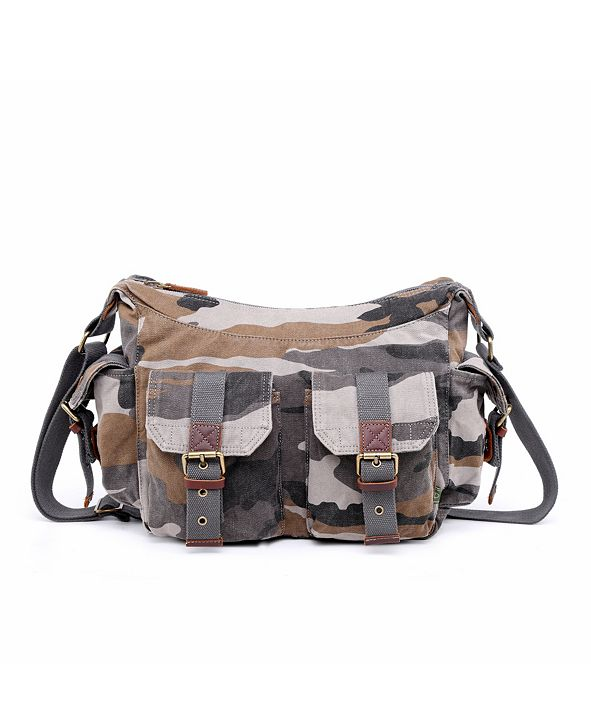 TSD BRAND Camo Canvas Messenger Bag