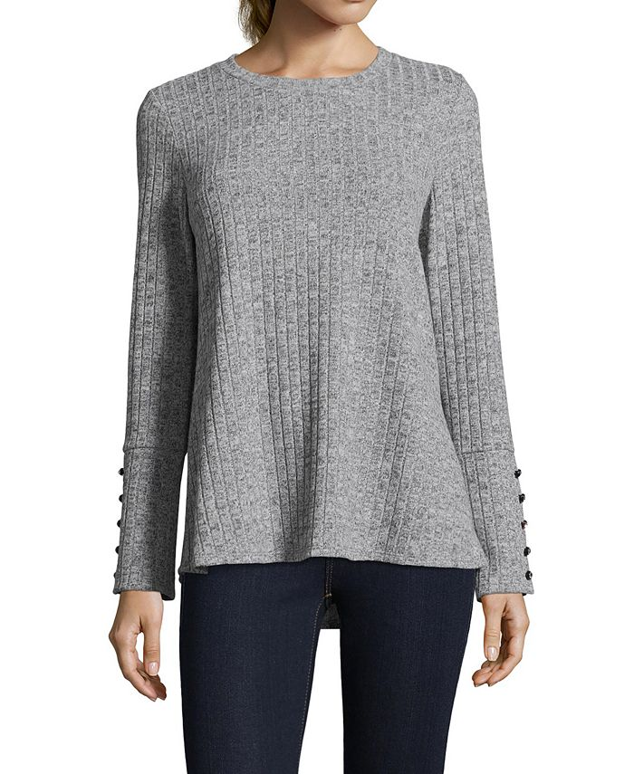 John Paul Richard - Ribbed Button-Sleeve Sweater
