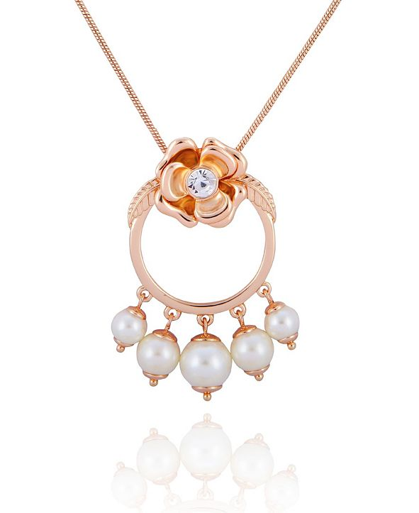 T Tahari Fall in Love with Florals Pendant Necklace