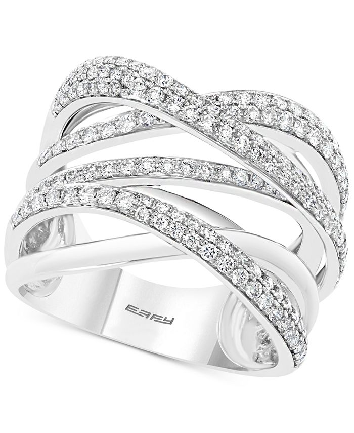 EFFY Collection - Diamond Overlap Multi-Row Statement Ring (1 ct. t.w.) in 14k White Gold