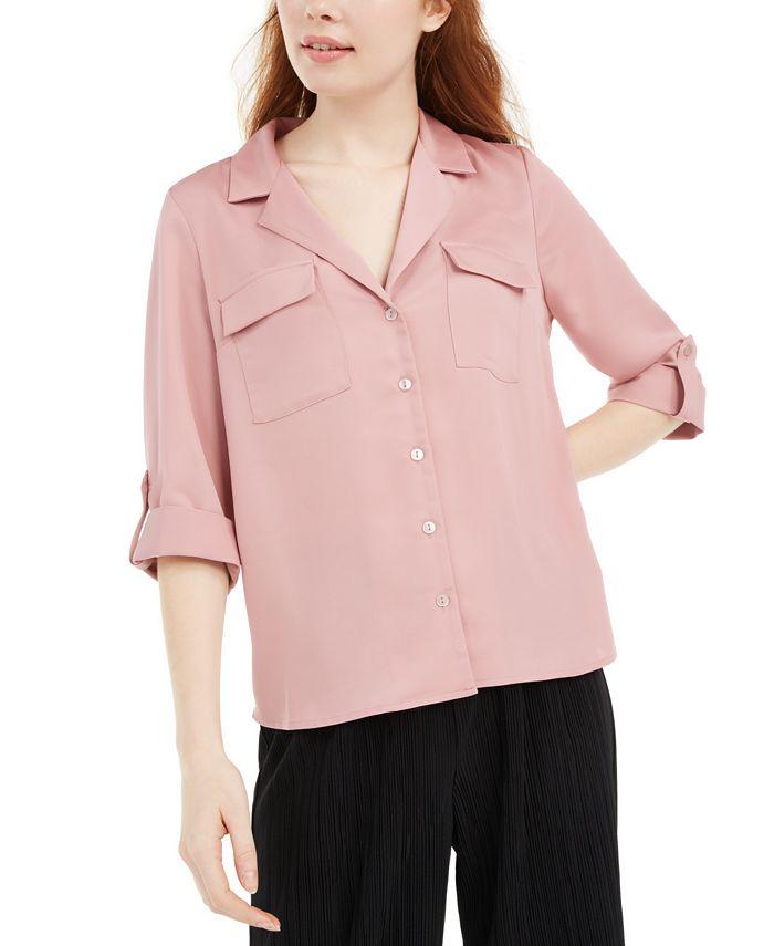 BCX - Juniors' Boxy Button-Up Shirt