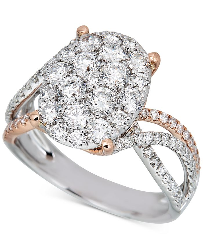 Macy's - Diamond Oval Cluster Two-Tone Ring (1-3/4 ct. t.w.) in 14k White Gold & Rose Gold