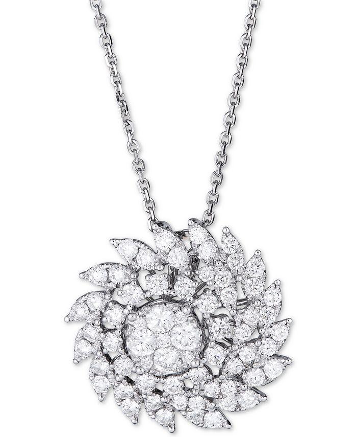 "Macy's - Diamond Swirl Cluster Pendant Necklace (2-1/2 ct. t.w.) in 14k White Gold, 16"" + 2"" extender"