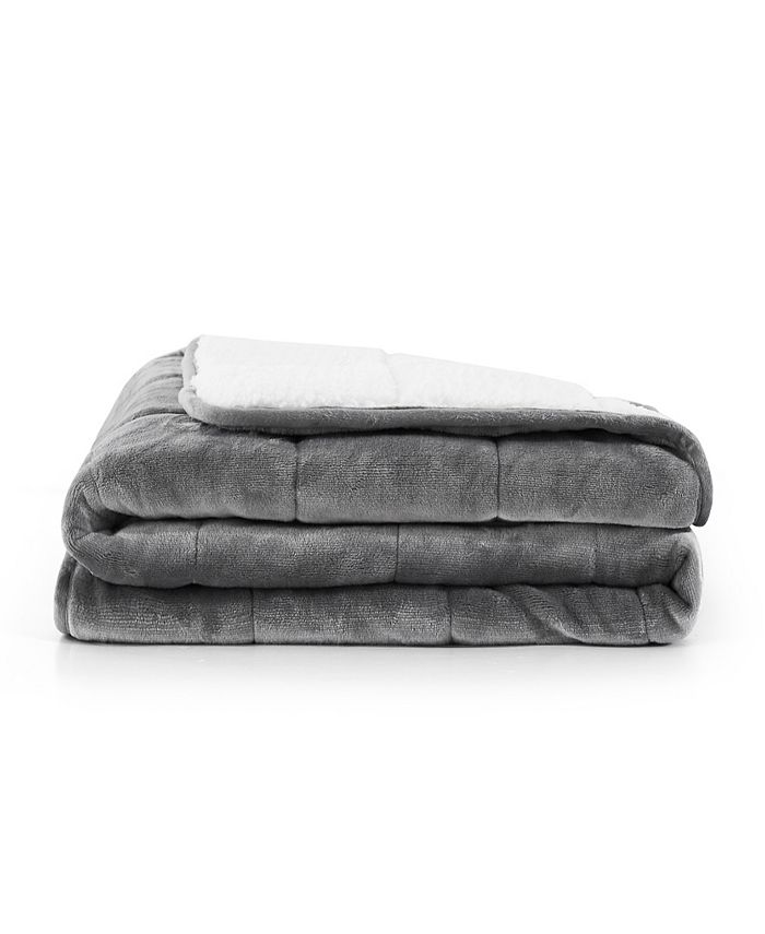 réjuve - 10lb Shiny Flannel Sherpa Weighted Blanket