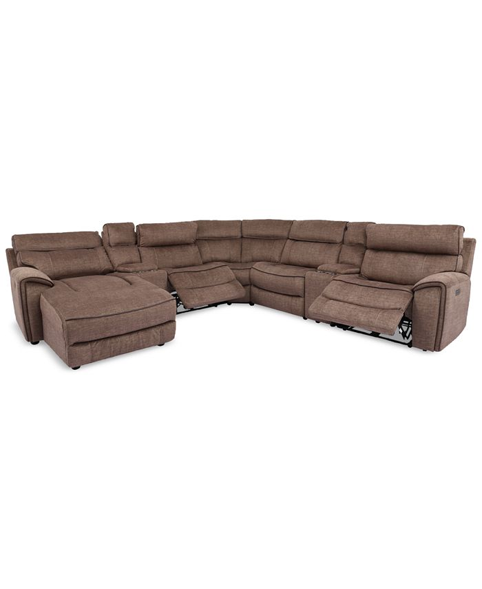 Furniture - Hutchenson 7-Pc. Fabric Chaise Sectional with 2 Power Recliners and 2 Consoles