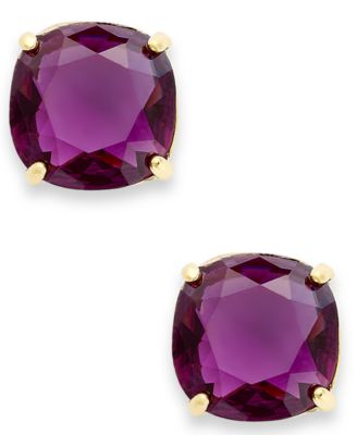 Kate Spade New York Earrings 12k Gold Plated Amethyst Resin Square Stud