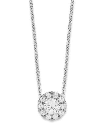 Certified diamond pendant necklace 14 ct tw in 18k white diamond halo pendant necklace in 14k white gold 13 ct tw aloadofball Images