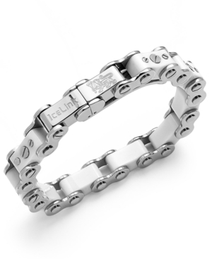 IceLink - Stainless Steel Bracelet, Large White Bicycle Bracelet