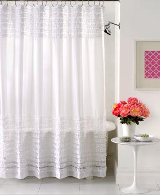 Attractive Creative Bath Accessories, Sheer Ruffles Shower Curtain