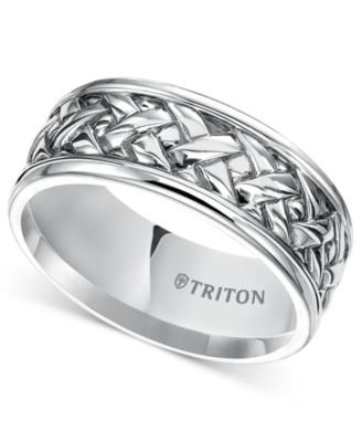 Triton Mens Sterling Silver Ring 9mm Woven Wedding Band Rings