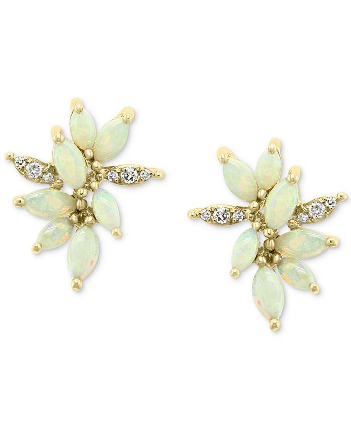 EFFY Collection - Opal (1-3/8 ct. t.w.) & Diamond (1/10 ct. t.w.) Stud Earrings in 14k Gold