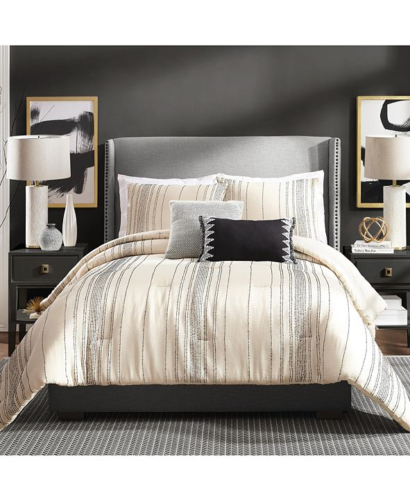 Ayesha Curry Slate Stripe Full/Queen 3 Piece Comforter Set