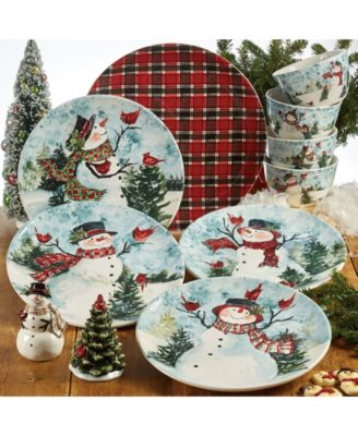 Watercolor Snowman Round Platter