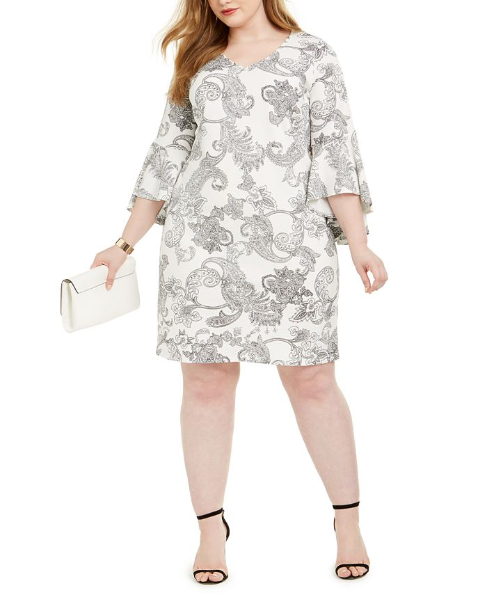 MSK - Plus Size Paisley-Print Sheath Dress